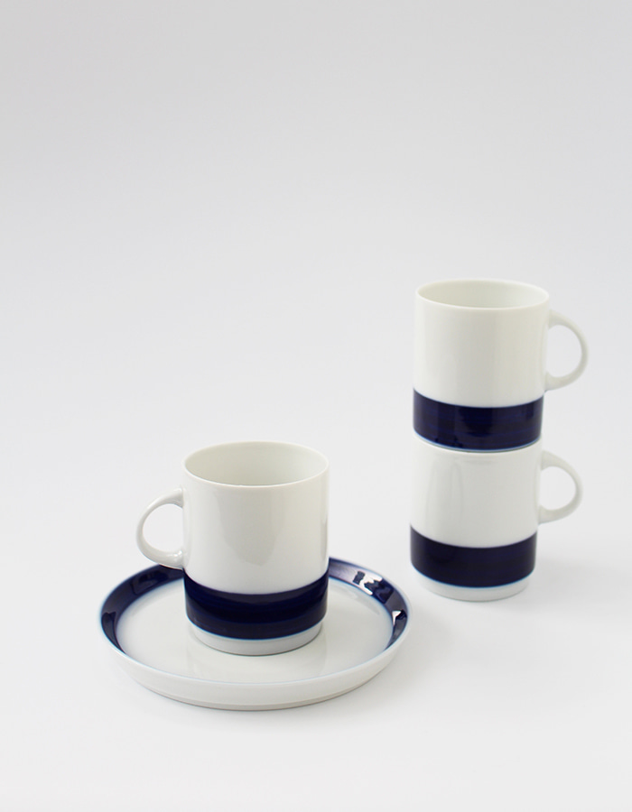 thomas) retro brushed cobalt blue rim cup&saucers