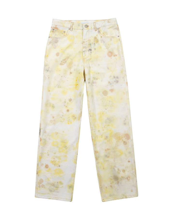 teak) eco-printing flower cotton jean