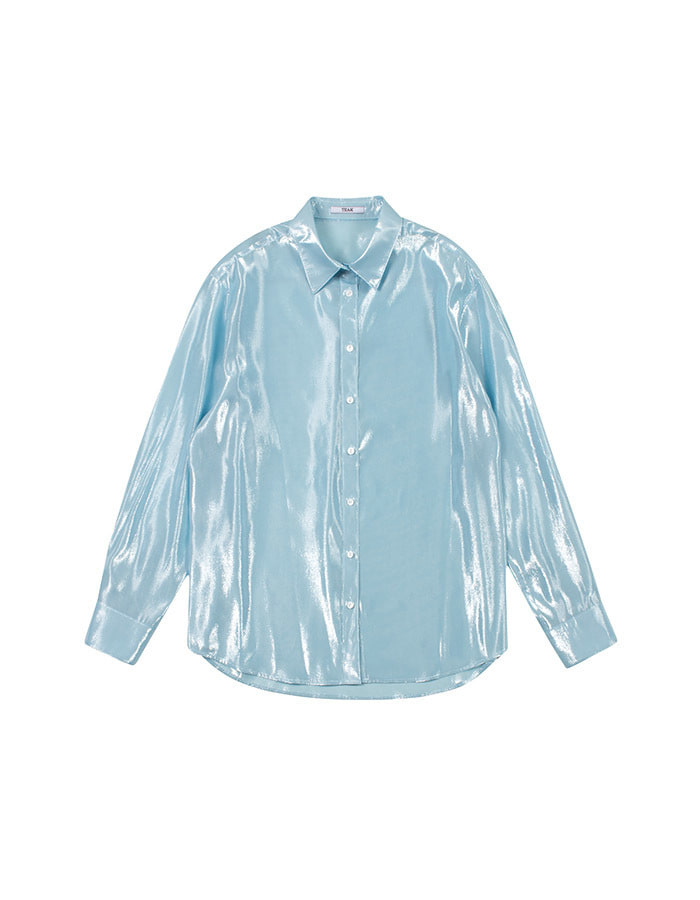 teak) sky blue silk blouse