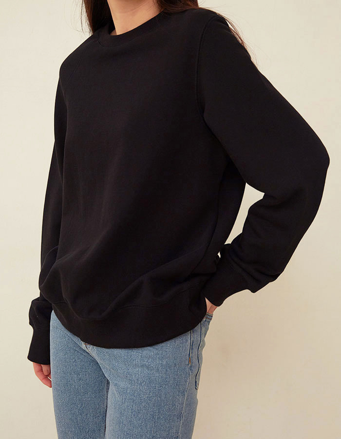 al,thing) half sweat shirt - black