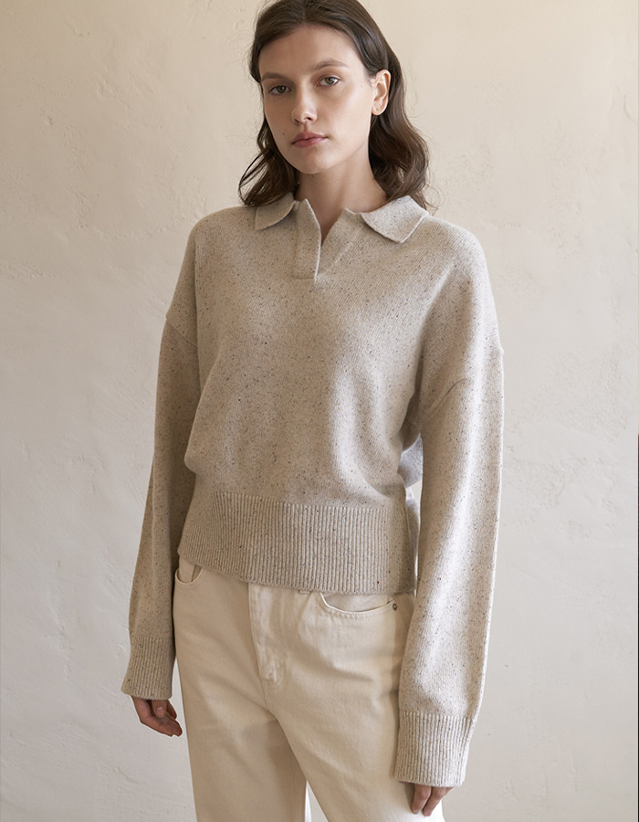 hier) NEP Crop Collar Knit - oatmeal