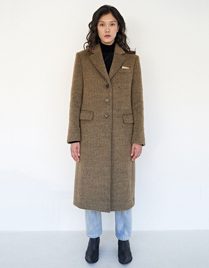 teak) Alpaca single long coat
