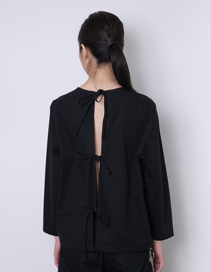 halominium) Back ribbon smock - black
