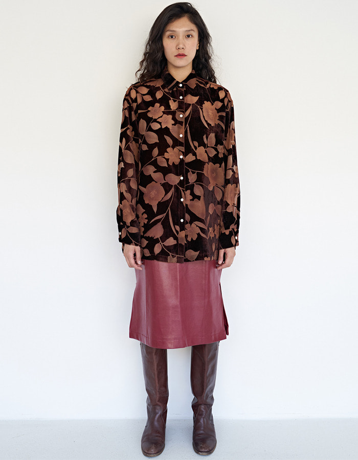 teak)  Flower velvet burnout blouse - brown