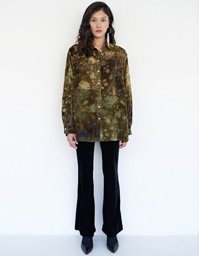 teak) Flower velvet burnout blouse - olive