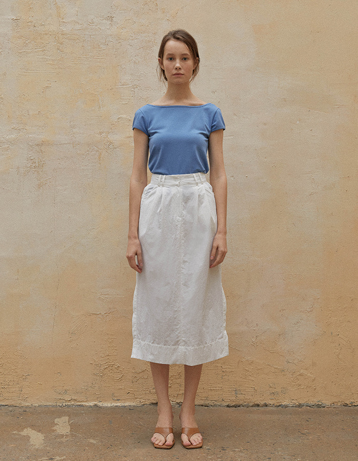 LENUÉE) Button long skirt (White)