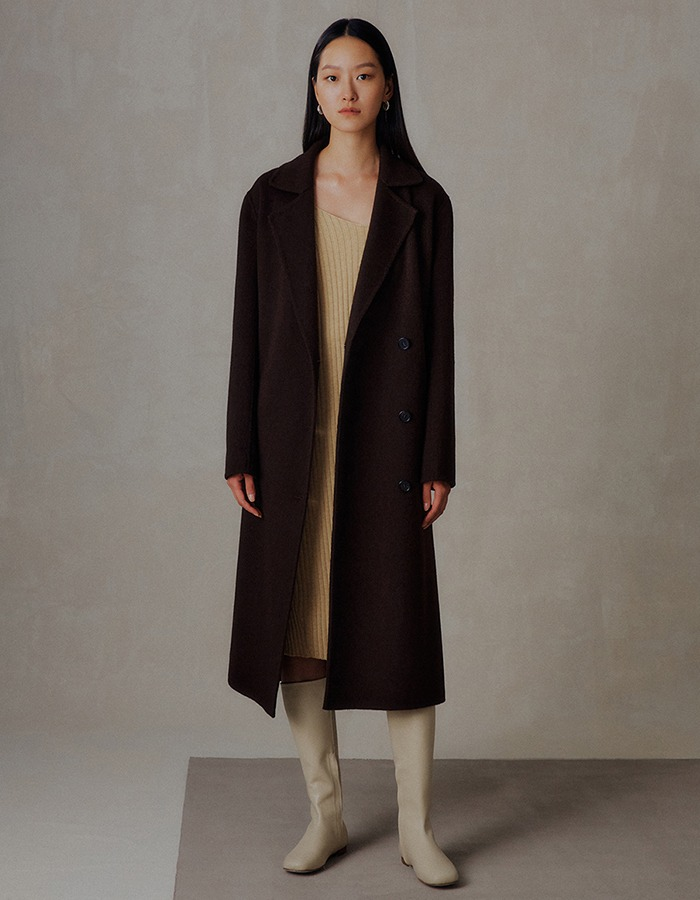 Ma Journee) CASHMERE DOUBLE HANDMADE COAT_BROWN