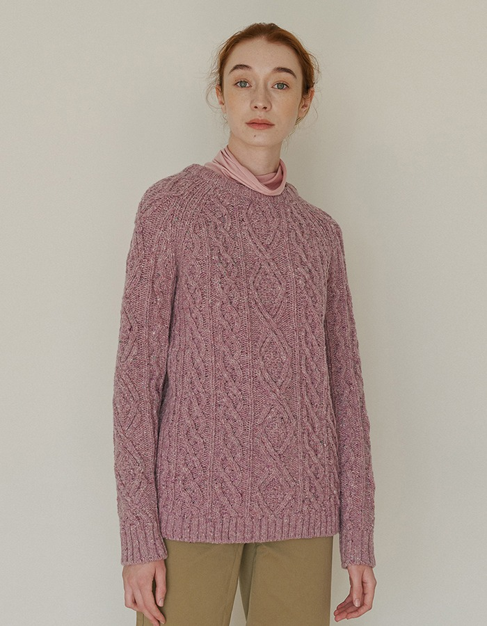 JOYZIN) Cable Pullover (Dusty Pink)