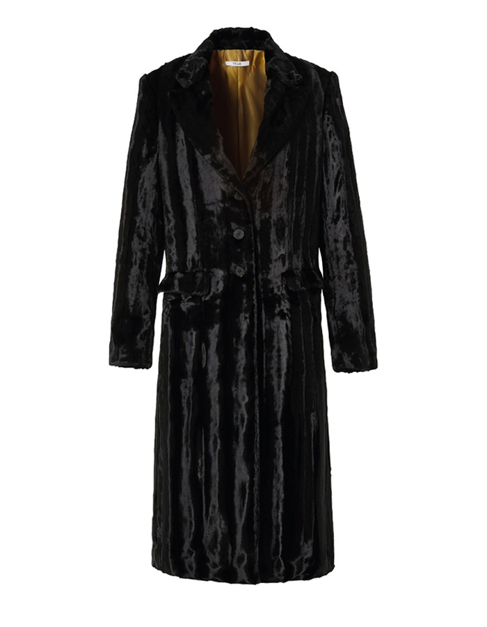teak) VELVET FUR LONG SINGLE COAT (BLACK)