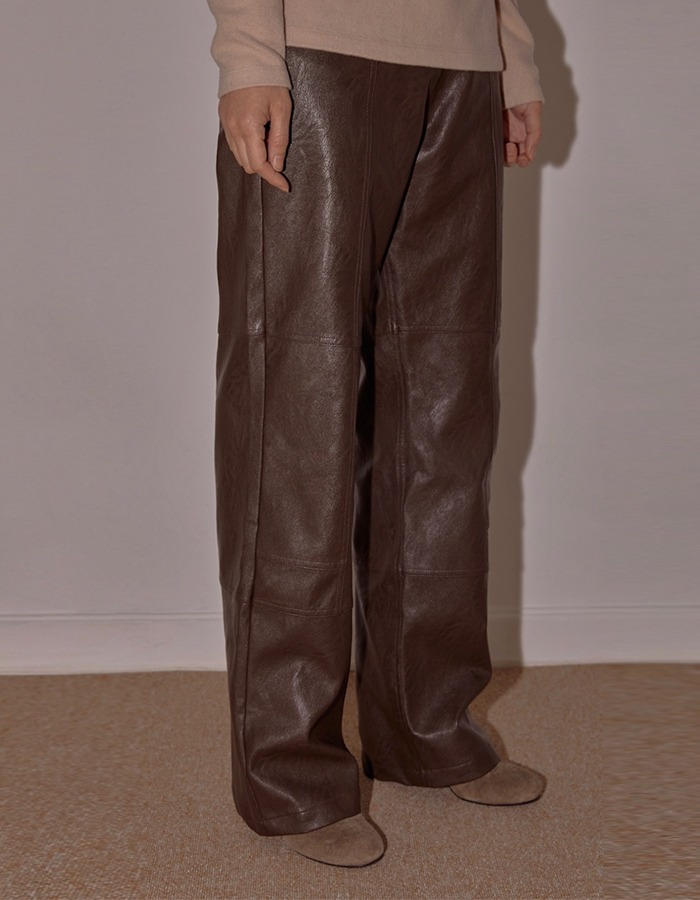 cosmoss) Stitch Detail Vegan Leather Pants (Dark Brown)