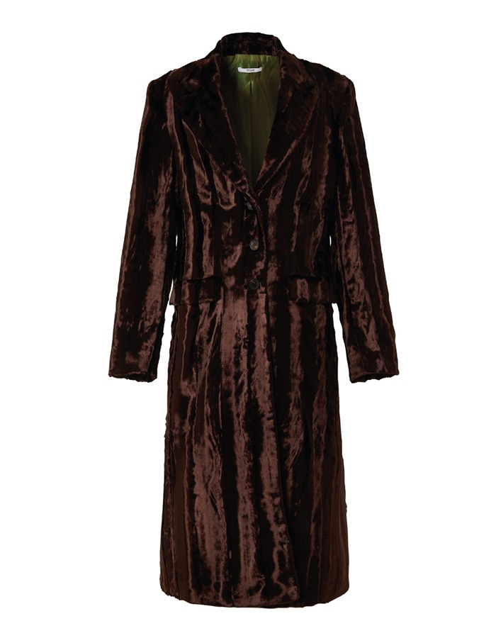 teak) VELVET FUR LONG SINGLE COAT (MAROON)