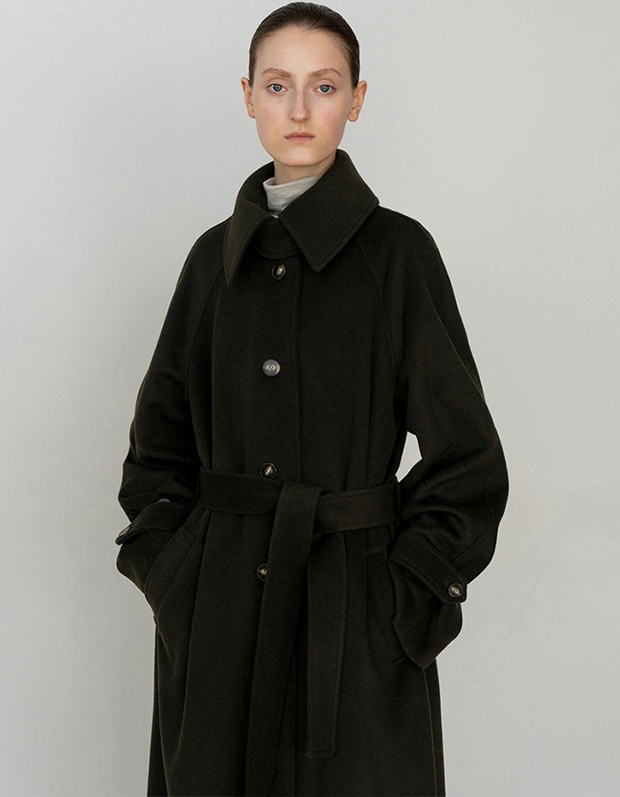 RE RHEE) WOOL OVERSIZED BELTED LONG COAT DG