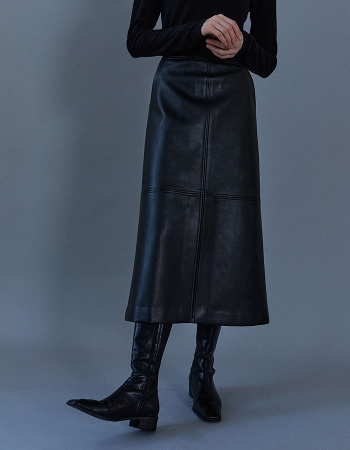 lenuee) Classic H-line vegan leather skirt (Black) - 마지막 제품