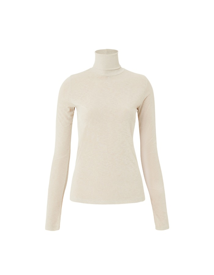 teak) SLIM TURTLENECK TOP (IVORY)