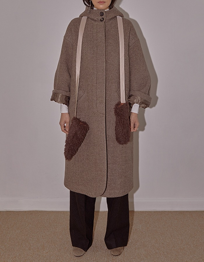cosmoss) Herringbone Hooded Coat (Fog Brown)