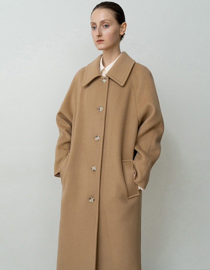 RE RHEE) CASHMERE WOOL BLEND WIDE COLLAR COAT