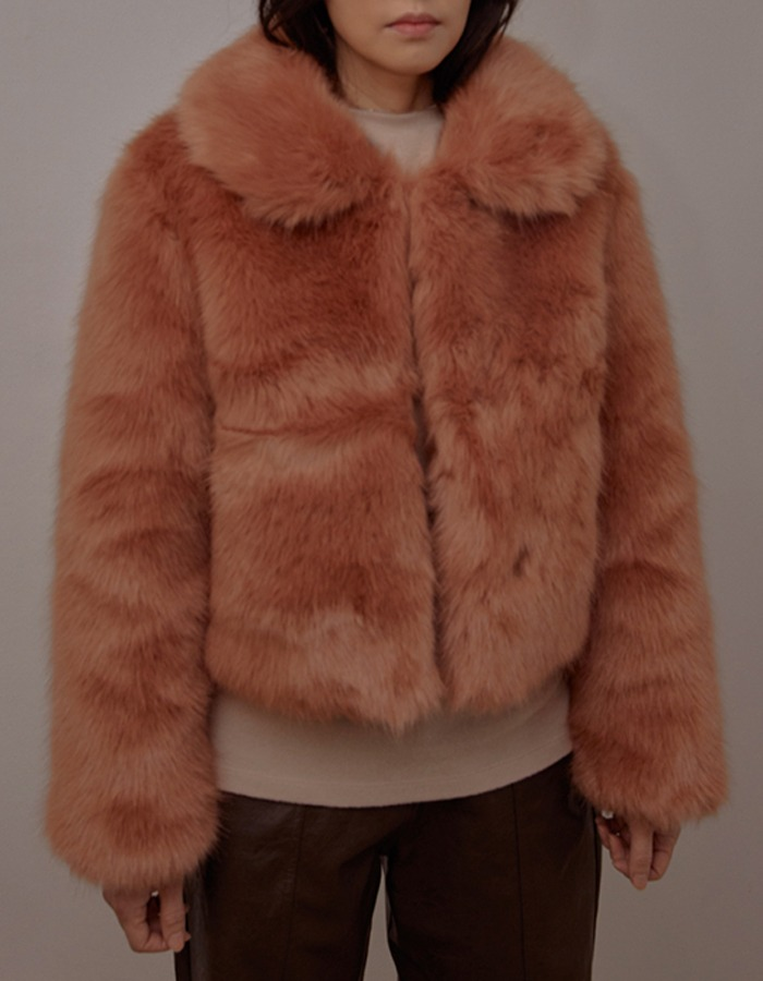 cosmoss) Vegan Collar Short Fur jacket (Vintage Rose)