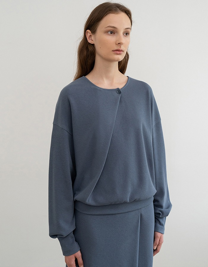 RE RHEE) ELAXED DIAGONAL PANEL SWEATSHIRT TOP BL