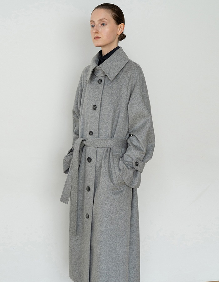 RE RHEE) WOOL OVERSIZED BELTED LONG COAT GY