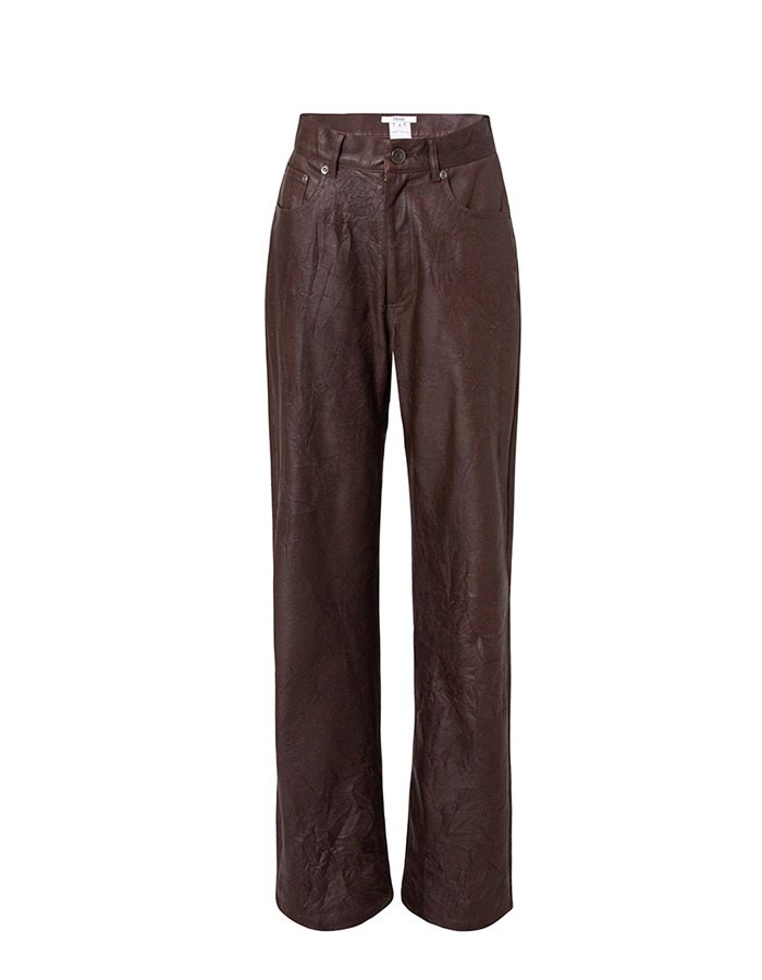 teak) FAUX LEATHER WRINKLE JEANS (MAROON)