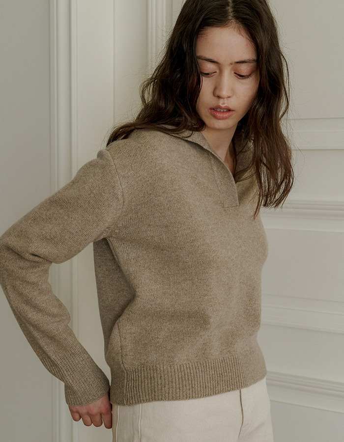 JOYZIN) Air Wool Crop Pullover (Oatmeal)