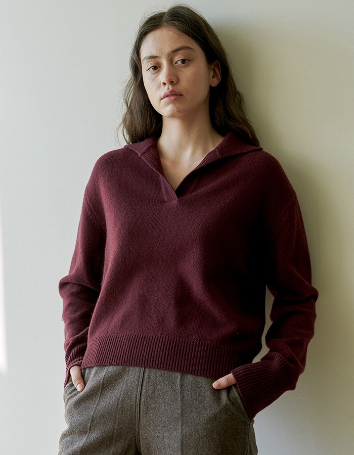 JOYZIN) Air Wool Crop Pullover (Burgundy)